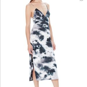 AFRM Cleo Tie Dye Rib Plunge Neck Midi Dress L